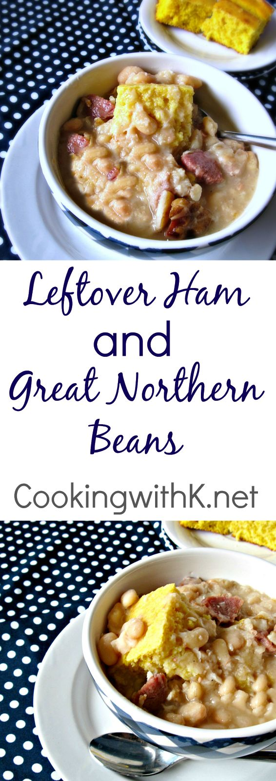 Leftover Ham makes the most delicious Great Northern Beans.  Cook the ham and beans together in a crockpot!