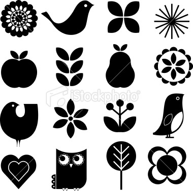 Retro nature icon set Royalty Free Stock Vector Art Illustration