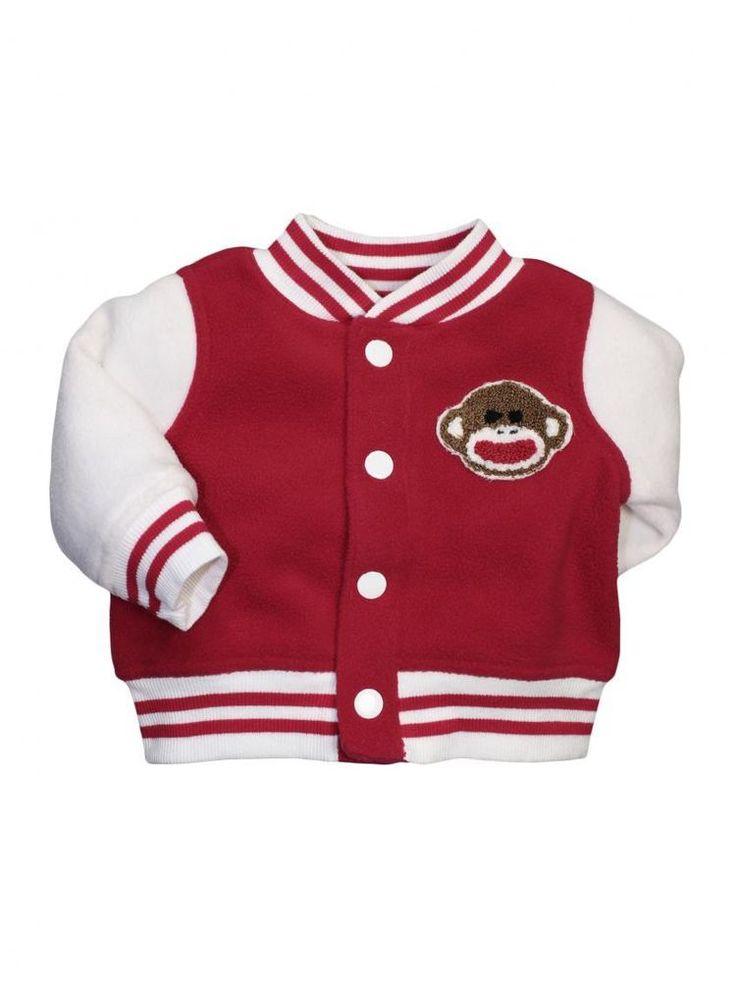 Boys Sock Monkey Infant Fleece Varsity Sweatshirt Jacket by Baby Starters #BabyStarters
