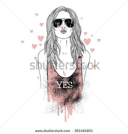 girl kiss, fashion illustration