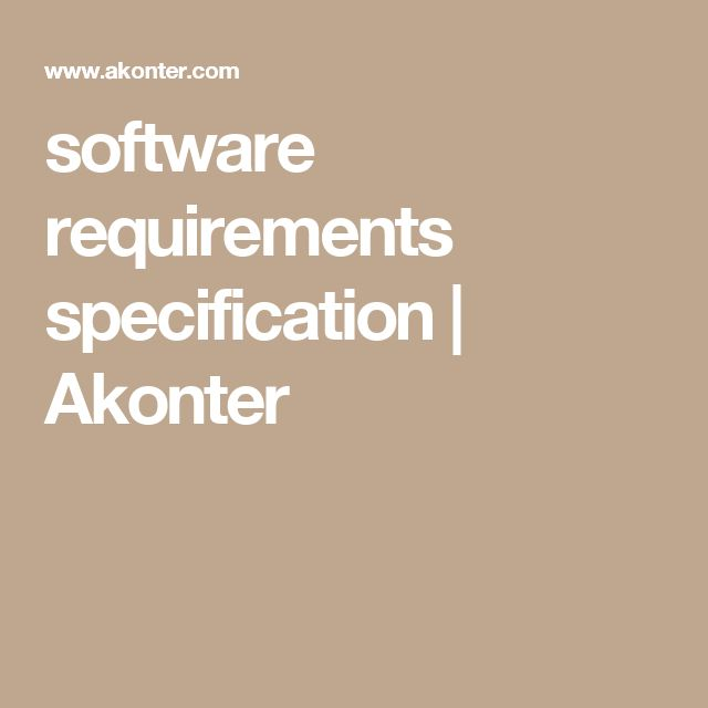 software requirements specification | Akonter
