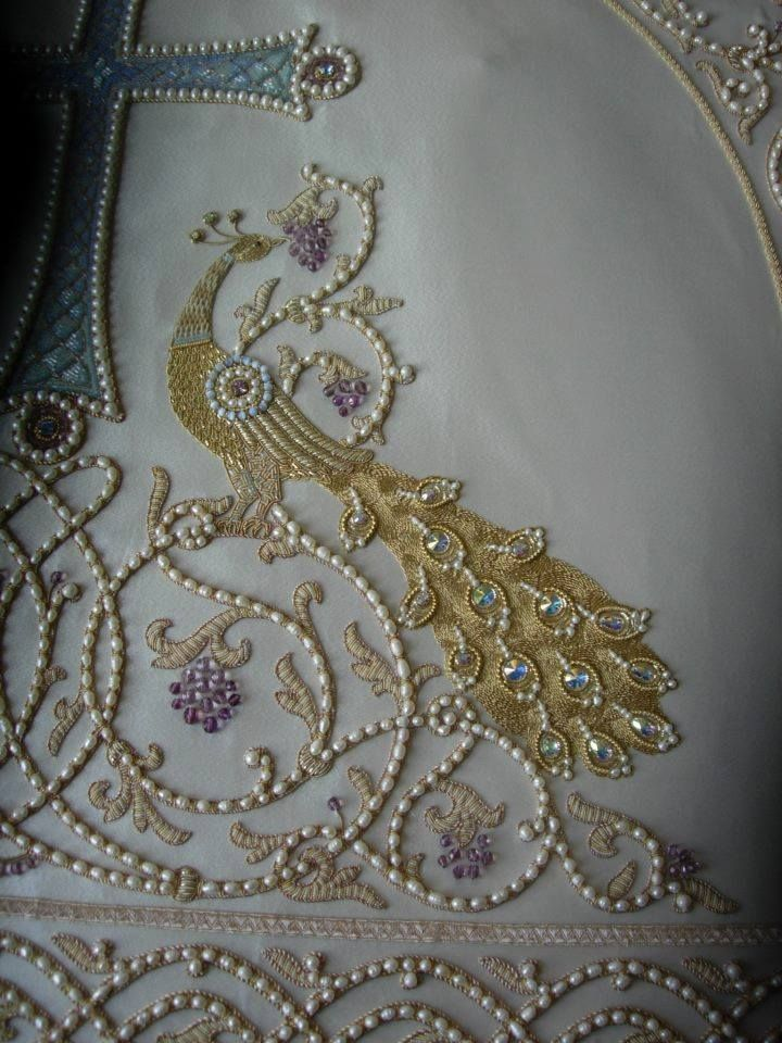 Goldwork embroidery (Russian, ecclesiastical). It is great that so many pieces of handwork has been passed down or survive. I buy lovely pieces and frame them.