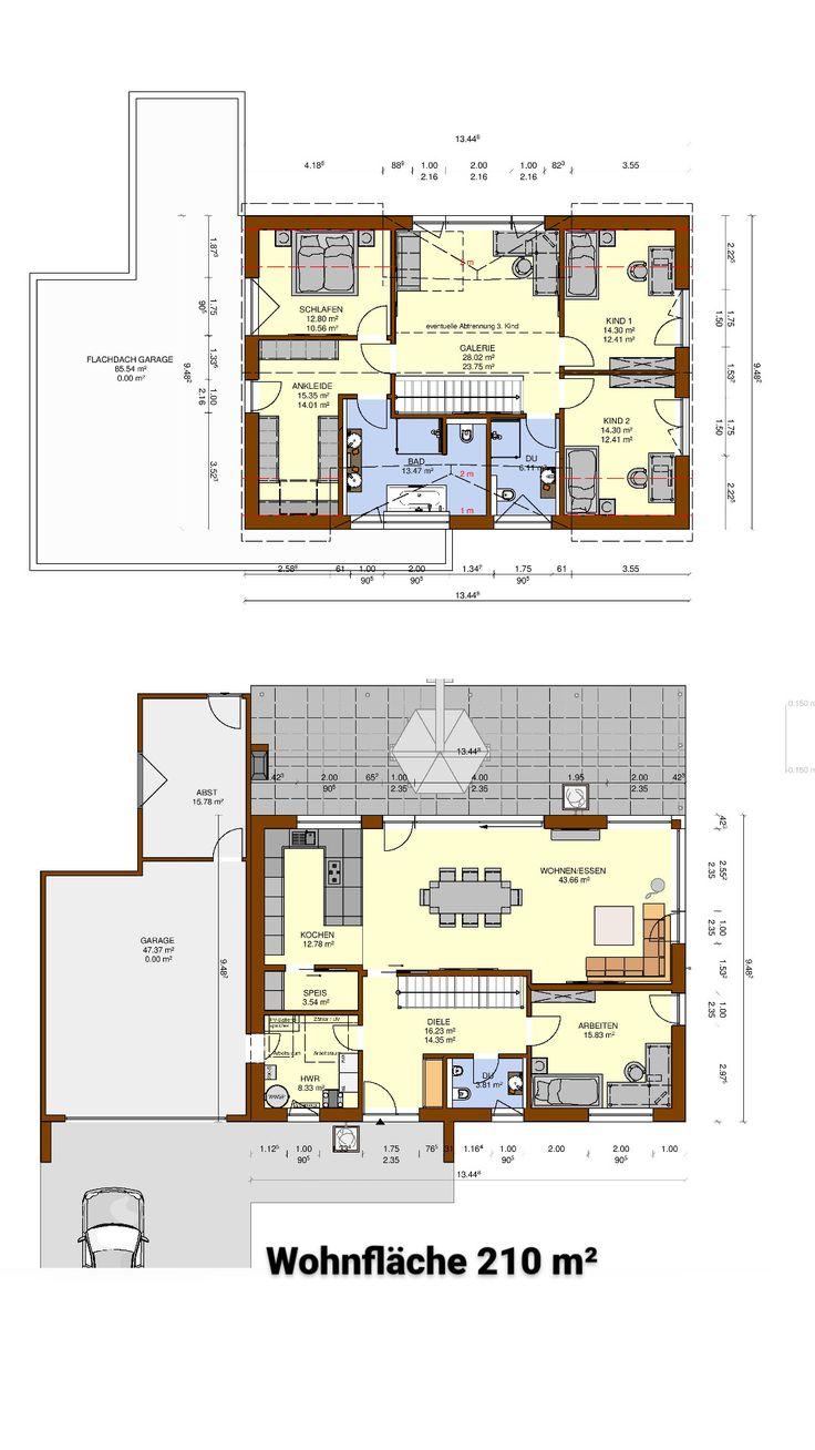 Hausplanung eines Einfamilienhauses ohne Keller auf einer Wohnfläche von 210 m2. Täglich neue Grundrissideen auf Instagram @derHausblogger #haus #ei…