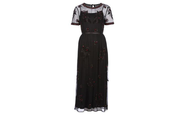 Beaded Mesh Short Sleeve Midi Dress