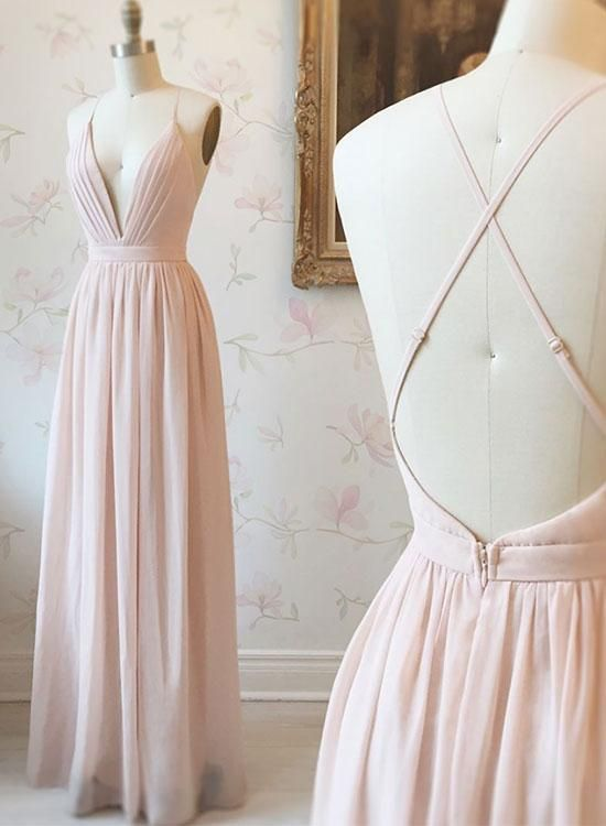 Simple pink v neck chiffon long prom dress,cross back evening dress,pink formal …