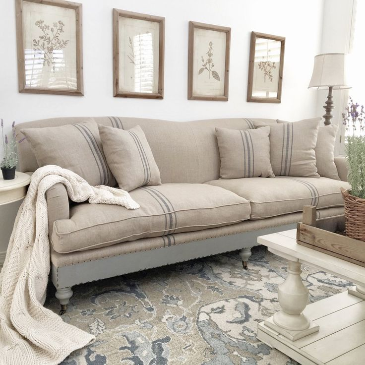 Abella Sofa With French Stripes On Natural Linen In 2019