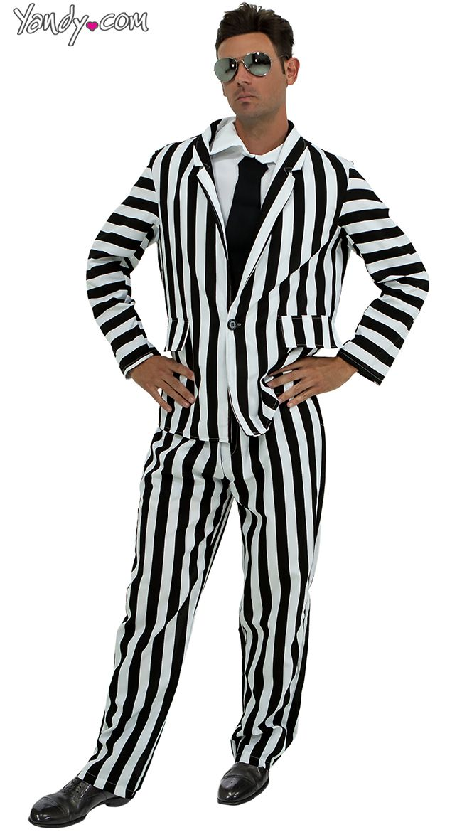 Mens Black And White Striped Suit