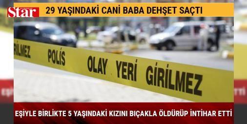 29 yaşındaki cani baba eşiyle birlikte 5 yaşındaki kızını bıçakla öldürüp intihar etti: Bir fabrikada çalışan Sami Ergu (29), özel güvenlikçi eşi Serap Ergu (34) ile kızları 5 yaşındaki Sena'dan haber alamayan yakınları, ailenin Çamdibi Mahallesi 5107 Sokak'taki evlerine gitti. Kapının açılmaması üzerine Sami'nin ikiz kardeşi Sabit Ergu, yedek anahtarla eve girdi. Kardeşi, yengesi ve yeğeninin hareketsiz yattığını gören Ergu, durumu 112 Acil Servis ve polis ekiplerine bildirdi. Olay yerine…