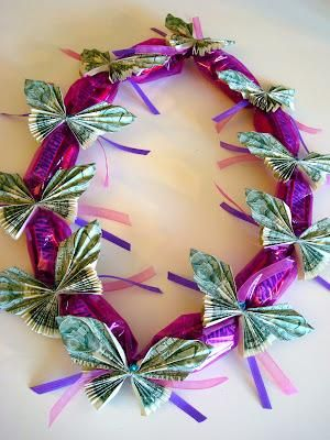 How to make a candy lei with dollar bill butterflies