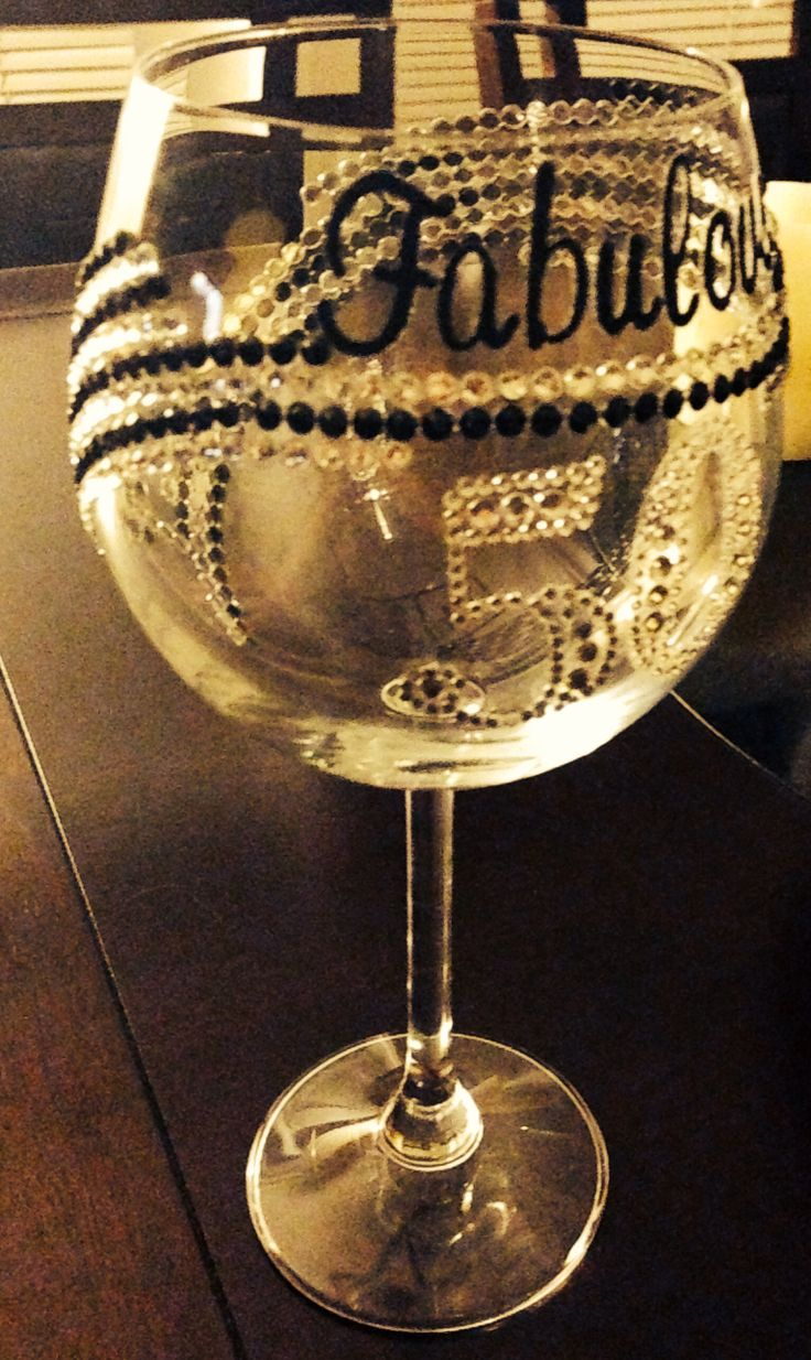 Fabulous & Fifty DIY wine glass , custom wine glass, Birthday Gift, mom's 50th birthday party!