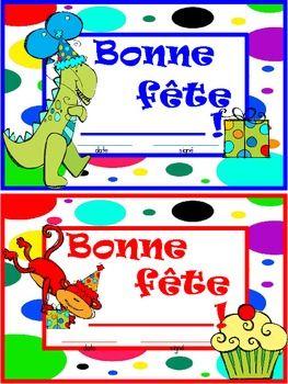 GRATUIT - French Birthday Certificate / Bonne fête!