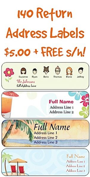 140 Return Address Labels for $5.00 + FREE Shipping! ~ {Use them as Address labels, Book labels, New labels for when you move, Label Baby's Belongings, Teacher's Labels, Wedding Return Address Labels, or give as a fun gift!}