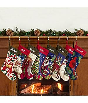 Personalized Needlepoint Stocking-Vintage designs and exquisite detailing give our old-fashioned needlepoint stockings homemade appeal. Handsome wool needlepoint designs are finished with a soft cotton velveteen back and cuff. http://kittykatkoutique.com/new-personalized-christmas-stockings-2015/