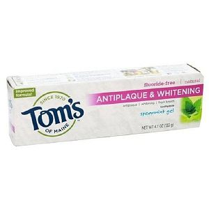 Tom's of Maine toothpaste. So far it has the best compromise of everything- enviro friendliness, cruelty free, effectiveness, price & taste. Not fair trade though.