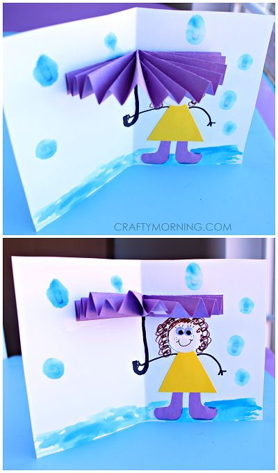 3D Umbrella Rainy Day Card for Kids to Make (Spring craft) | http://CraftyMorning.com