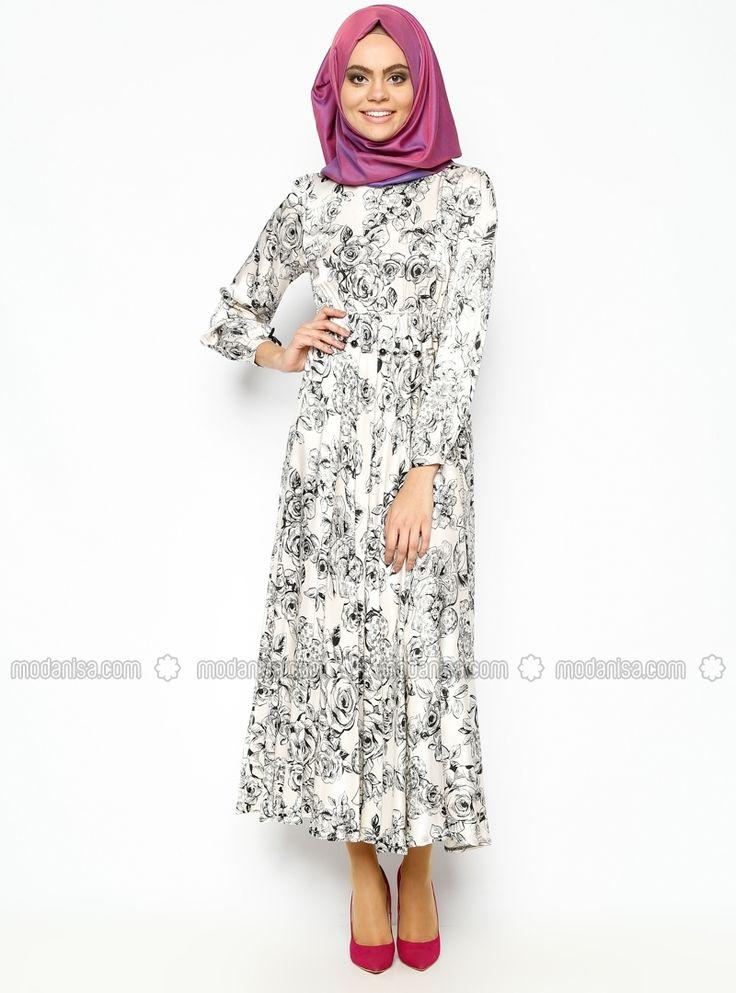Çiçek Desenli Elbise - Siyah -Beyaz - Meryem Acar