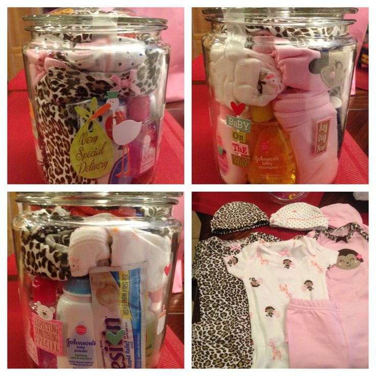 Another gift for the mom to be that I made today. I put in a Johnson & Johnson mini travel kit, diaper disposal bags, onesies with matching leggings and hats, breast pads, a pack of tissues, Advil and bath n body works mini hand sanitizer. I decorated the lid with the baby's name and put 2013, then I decorated the jar with cute baby scrapbooking stickers.  #babyshower #DIY #newborn #momtobe