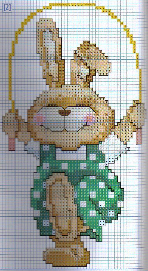 Bunny Jumping Rope Free Cross Stitch Chart Needlepoint Pattern