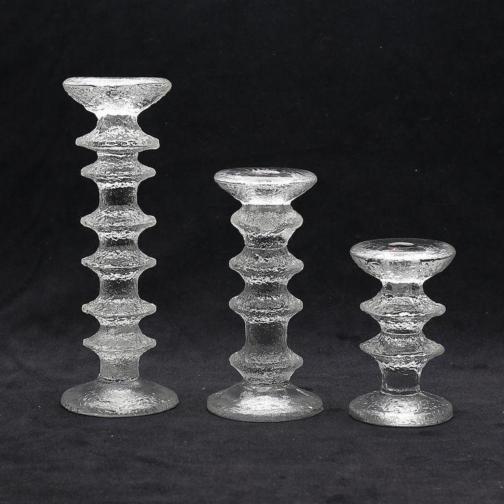 """Bilder för 265588. LJUSSTAKAR, 3 st, glas, """"Festivo"""", Timo Sarpaneva. – Auctionet"""