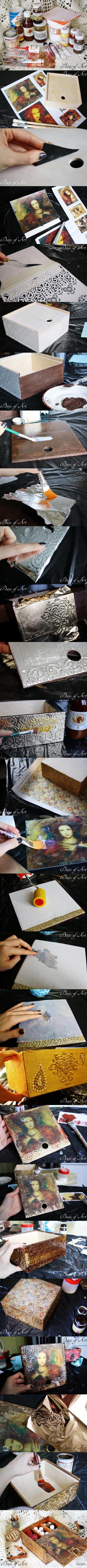 "Декупаж - Сайт любителей декупажа - DCPG.RU | Шкатулка ""Сирена"". Мастер-класс от ""Base of Art"". Click on photo to see more! Нажмите на фото чтобы увидеть больше! decoupage art craft  handmade home decor DIY do it yourself tutorial Materials and techniques: wax varnish acrylic paint etc."