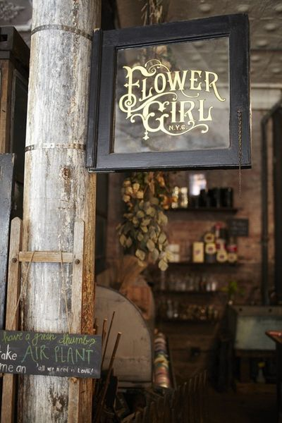Flower Girl NYC signage: Stores Front, New York Cities, Shops Signs, Vinyls Letters, Flowers Girls, Flowers Power, Old Window, Signage Design, Flowers Shops