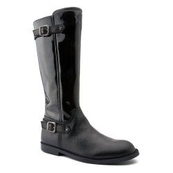 Black Patent Zip-up Children's Boots For Girls