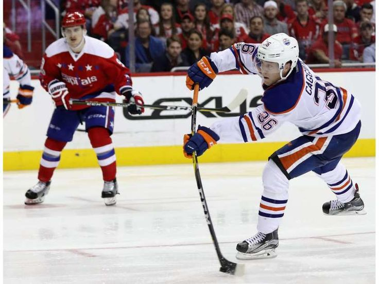 Drake Caggiula of the Edmonton Oilers takes a shot on goal against the Washington Capitals in the third period at Verizon Center on February 24, 2017 in Washington, DC.