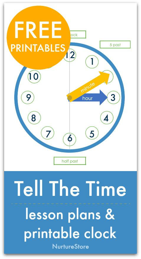 Easy telling the time lesson with clock free printable ...