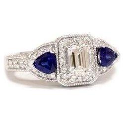 2.12CT Emerald Diamond & Blue Sapphire Ring Vintage PaveSapphire Engagement Rings, Vintage Pave, Anniverary Rings, Sapphire Rings, Rings Vintage, 2 12Ct Emeralds, Emeralds Diamonds, Blue Sapphire, Jewelry