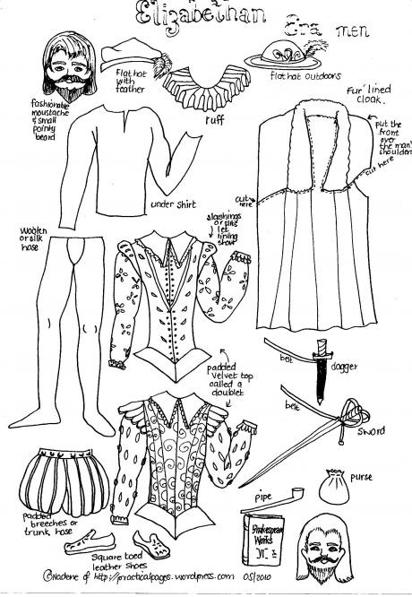Paper Men of AncientHistory   Practical Pages - Elizabethan costume