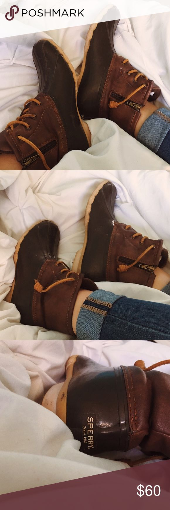 Brown Sperry Bean Boots Stylish and cute sperry bean boots. In great condition, just need to be cleaned up some (I will do this before shipment). Kids size 6 but are exactly like a women's size 8 [tags; duck boots // bean boots // LL bean boots // sperry bean boots] Sperry Shoes Winter & Rain Boots