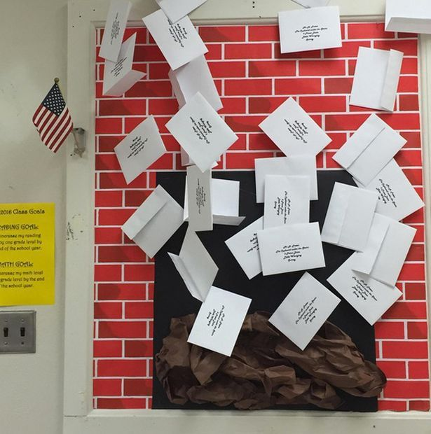 Harry Potter themed classroom shared online- Fire place with letters. Love the idea of having the student's name on each envelope!