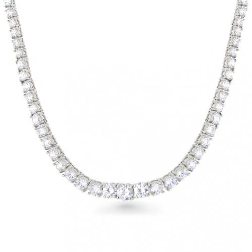 Sterling Silver 4-Prongs 4mm CZ Classic Tennis Necklace 36in
