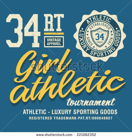 t-shirt graphic ,girl ,sport athletic - stock vector
