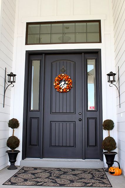 Arched door and transom window dream home pinterest - Door colors for brown house ...