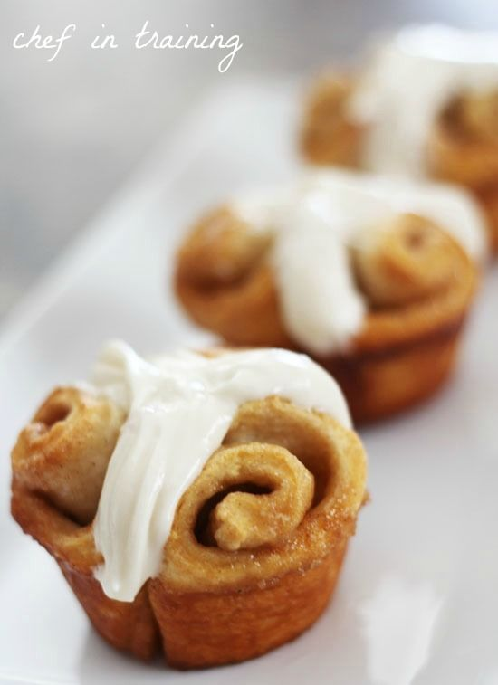 CINNAMON ROLL MuFFINS--  Ingredients  Print This Recipe Print This Recipe  1 can Grand Biscuits  1/4 cup butter softened  1/2 cup brown sugar  1 1/2 tsp. cinnamon  FROSTING . .  4 oz cream cheese softened  1 tsp. vanilla  1 1/2 cups powdered sugar