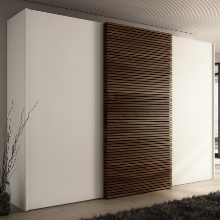 We should lackered white doors and a panel opposite the bed.