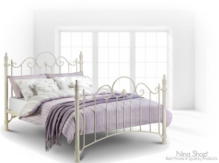 double metal bed frame vintage bedroom furniture white bedstead victorian style - Double Bed Frames
