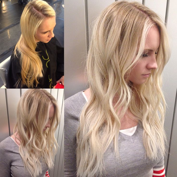 Brassy yellow blonde with brown ends turned into a beautiful creamy blonde. Color correction