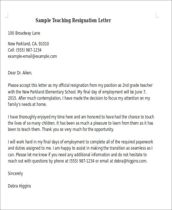 Sample Teaching Resignation Letter Resume Resignation