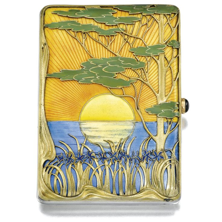 A FABERGÉ PARCEL-GILT SILVER AND ENAMEL CIGARETTE CASE, MOSCOW, 1899-1908 in Japanese taste, the lid enamelled with a sun setting on water and overlaid with irises and a Koyamaki tree, struck K. Fabergé beneath the Imperial Warrant, scratched inventory number 14325, 88 standard \ JV