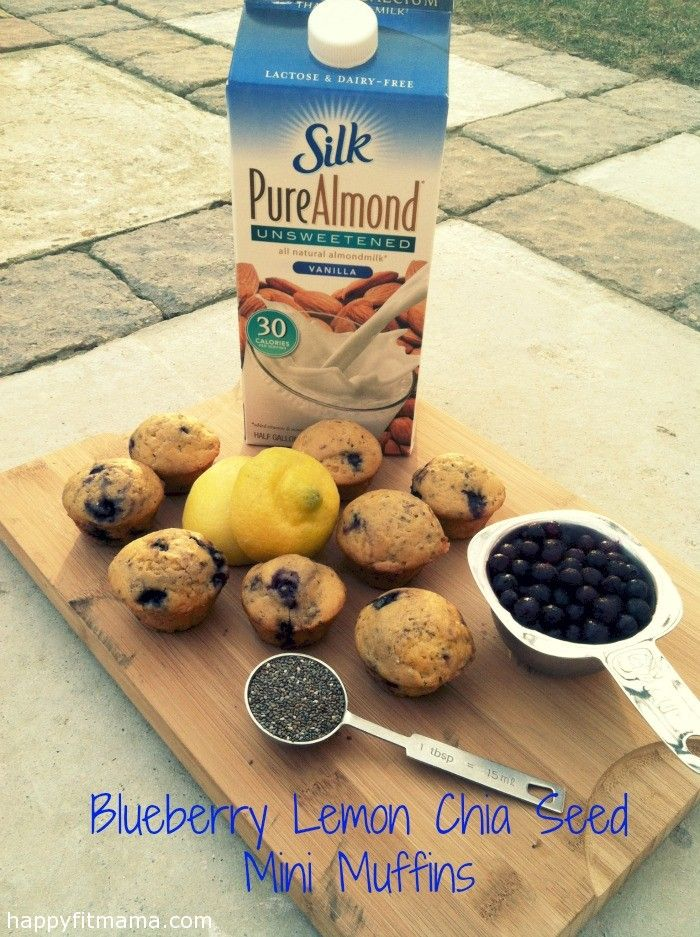 Blueberry Lemon Chia Seed Mini Muffins | recipe | healthy | low in sugar | breakfast | bread |  happyfitmama.com