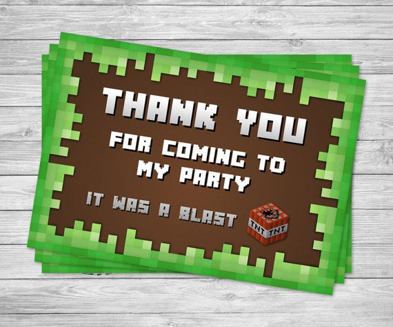 ★★ INSTANT DOWNLOAD ★★  :::: Minecraft Inspired Printable Birthday Party Thank You Cards ::::  Thank your party guests with one of these great thank you cards.  Includes:  1x PDF with 4 cards per page. 1x high resolution JPG file (300dpi)   This listing is for a high resolution digital file of the pictured product in JPEG and/or PDF format (300 dpi).  :::: NO PHYSICAL ITEMS WILL BE SHIPPED :::: This product listing is in a DIGITAL printable file only. No physical item will be shipped. Yo...