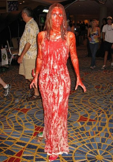 10 Unique Halloween Party Theme Ideas/ Costume Idea. Tried to get my sister inlaw to go as Carrie last year. Maybe she will do it this year. : }