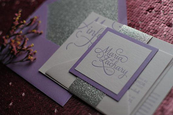 Metallic Calligraphy Letterpress Invitation Suite - Purple & Silver Glitter - SAMPLE