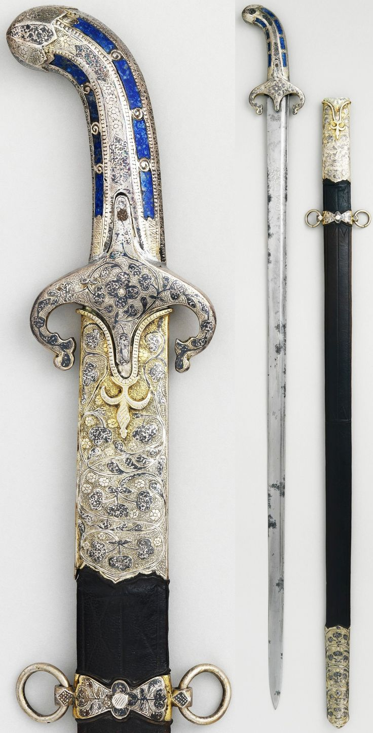 Ottoman sword, 1650 to 1700, steel, silver, niello, lapis lazuli, wood, leather, Length 40 3/8 in. (102.54 cm), Met Museum, Bequest of George C. Stone, 1935.