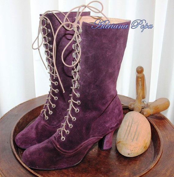 Bottes bottes victoriennes Edwardian violet par VictorianBoots