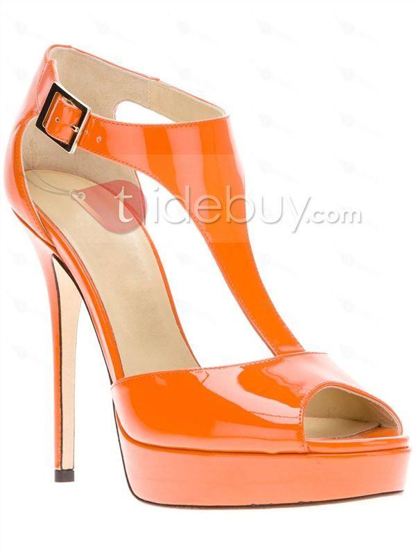 美しいオレンジ色スティレットヒールピープトウシューズレディースパンプス