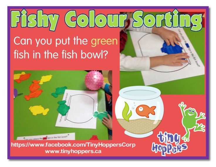 """For this activity we created fish bowls that say """"Place the green fish in the bowl"""" etc…  We then cut out fish in the different colours of t..."""