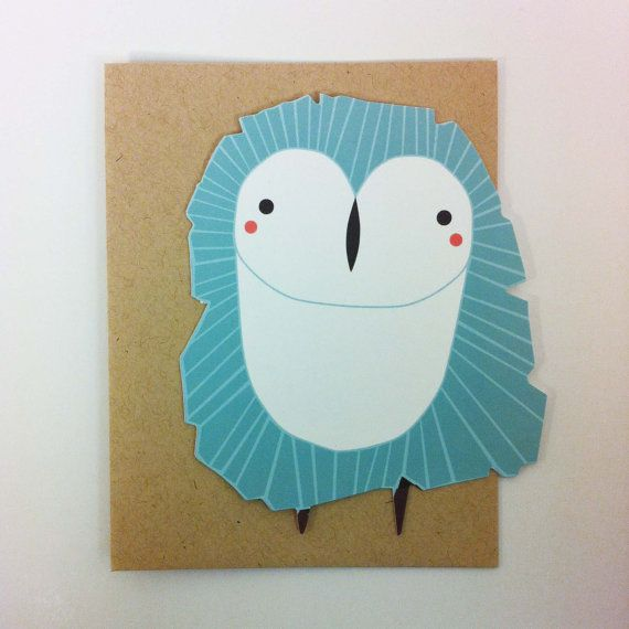 Owl Die Cut Flat Notecard by Gingiber on Etsy